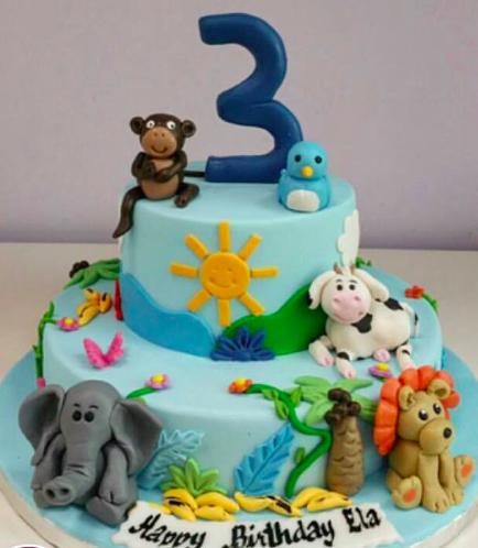 Jungle Animals Themed Cake 04