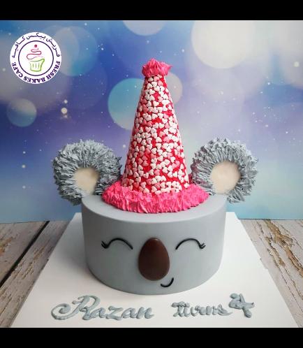 Koala Themed Cake - 2D Cake - Party Hat