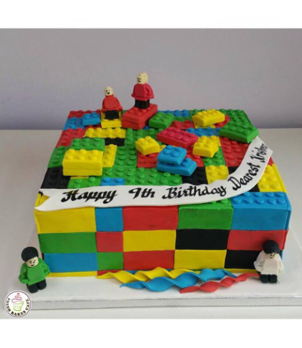 LEGO Bricks Themed Cake - Square Cake - 3D Cake Toppers - 1 Tier 03