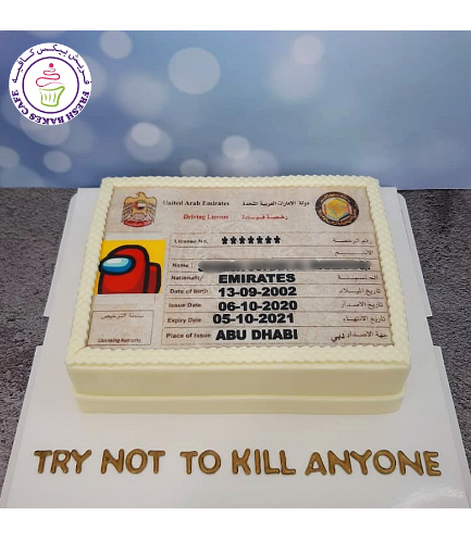Learner Driver Themed Cake - Driving License - Among Us