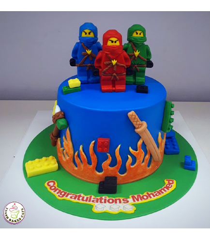 LEGO Ninjago Themed Cake - 3D Cake Toppers - 1 Tier 01