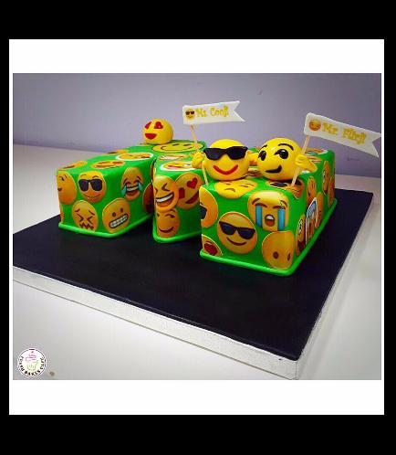 Letter Themed Cake - 3D Cake - Emojis 01b