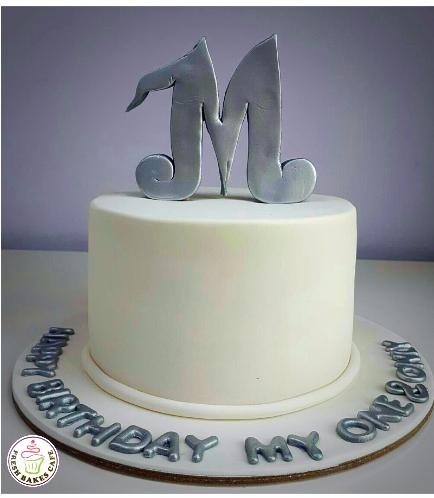 Letter Themed Cake - 3D Cake Topper - White Fondant