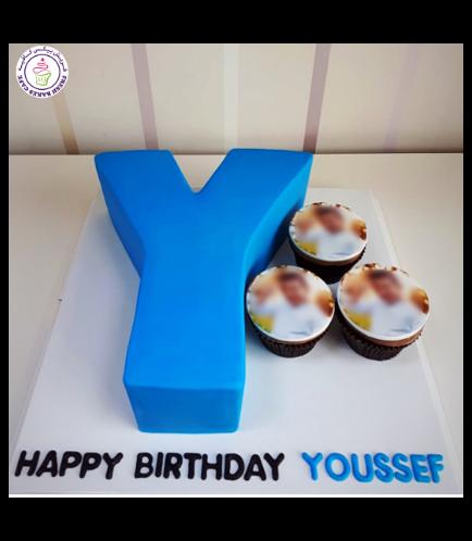 Letter Themed Cake - 3D Cake - Fondant Cake - Blue 01a