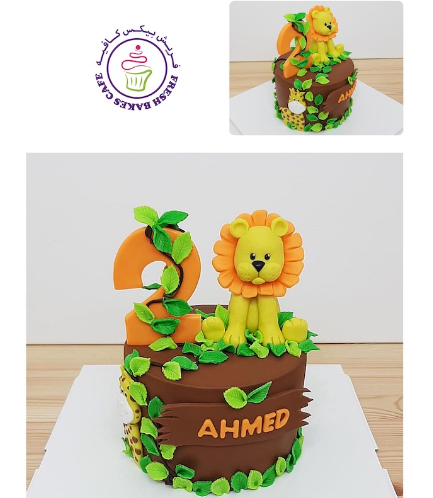 Lion Themed Cake - 3D Cake Topper - 1 Tier 01