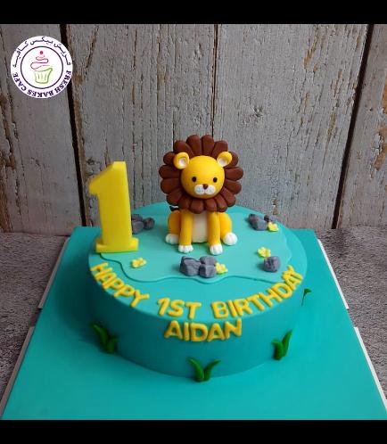 Lion Themed Cake - 3D Cake Topper - 1 Tier 03
