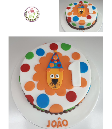 Cake - Lion with Party Hat - 2D Fondant Picture