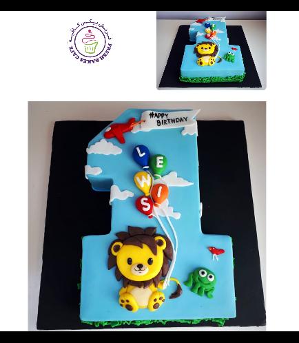 Cake - Number 01 - 3D Number 01 - Lion