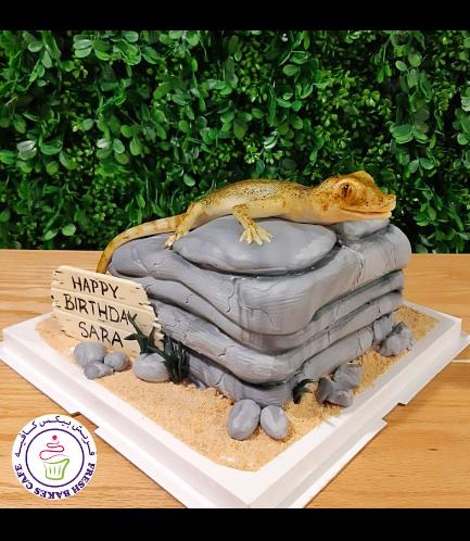 Lizard Themed Cake - 3D Cake Topper 01a