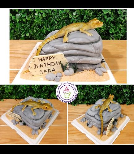 Lizard Themed Cake - 3D Cake Topper 01b