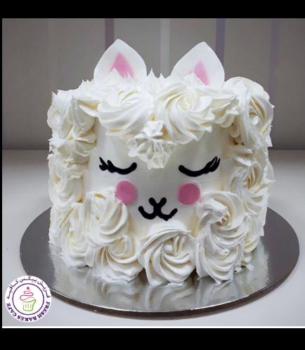 Llama Themed Cake - 2D Cake - Cream 01