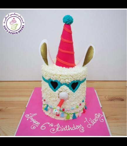 Llama Themed Cake - 2D Cake - Cream 02