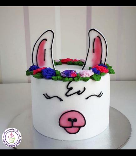 Llama Themed Cake - 2D Cake - Fondant