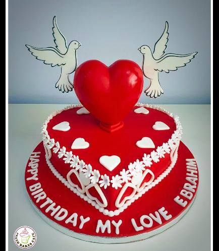 Cake - Heart Cake - 3D Cake Topper & Birds