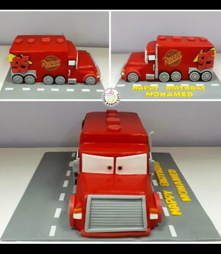 Lightning McQueen Mack Truck Themed Cake