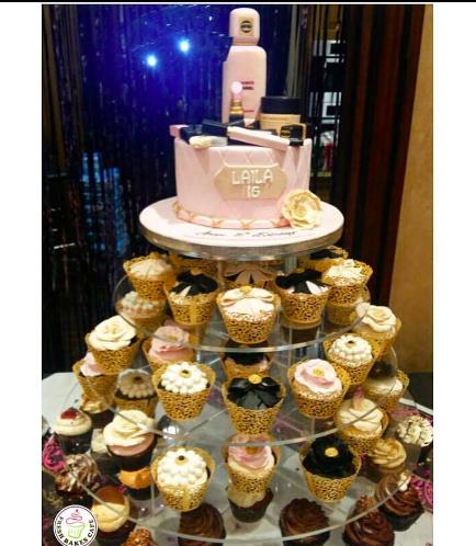 Makeup Themed Cake & Cupcakes