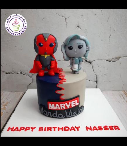 Marvel Themed Cake - WandaVision - 3D Cake Toppers