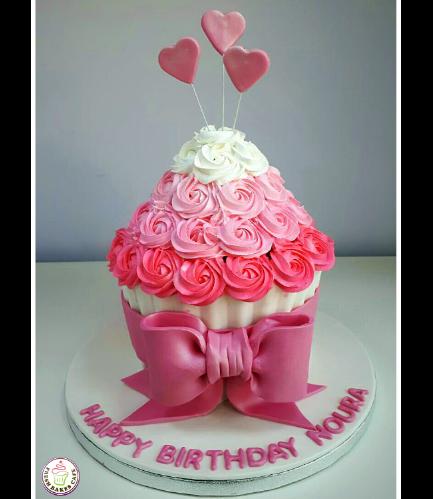 Mega Cupcake - Cream - Hearts