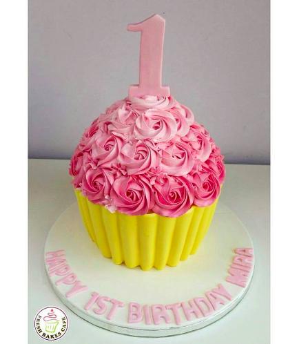 Cake - Mega Cupcake - Pink & Yellow