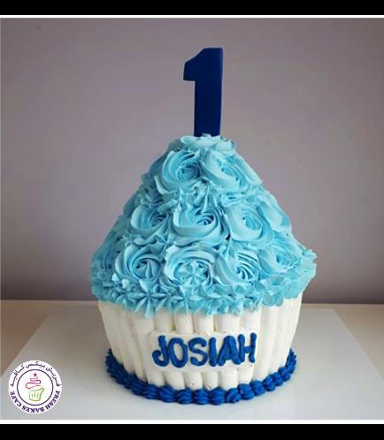 Cake - Mega Cupcake - Blue & White