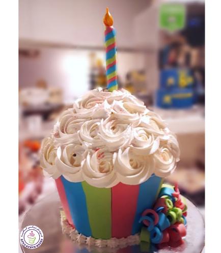 Mega Cupcake - Candle - Cream - Striped