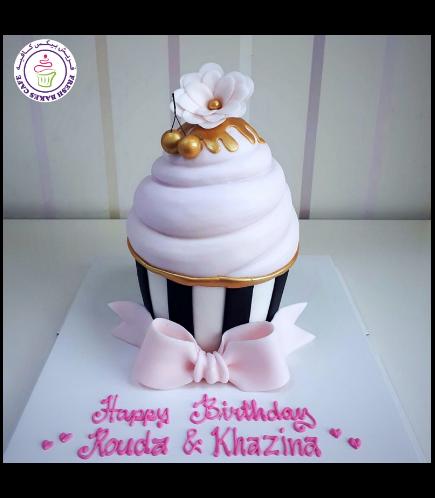 Mega Cupcake - Fondant - Flower & Cherries - Pink