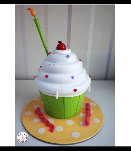 Mega Cupcake - Candle - Fondant - Green