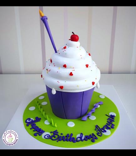 Mega Cupcake - Candle - Fondant - Purple