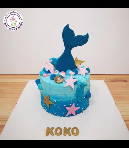 Cake - Mermaid Tail - 2D Cake Topper - Cream Cake 04