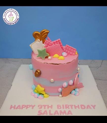 Cake - Mermaid Tail - 2D Cake Topper - Cream Cake 05