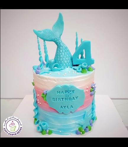 Cake - Mermaid Tail - 3D Cake Topper - Cream Cake 03b - Blue