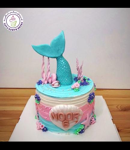 Cake - Mermaid Tail - 3D Cake Topper - Cream Cake 03c
