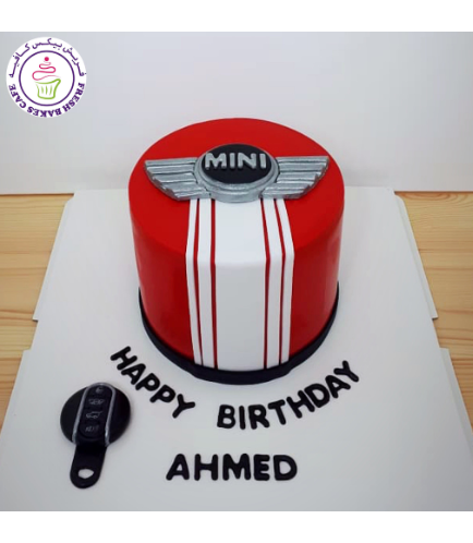 Car Themed Cake - Mini Cooper Logo - 2D Fondant Picture