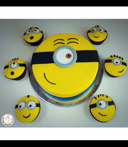 Cake - Flat Face 02 & Cupcakes