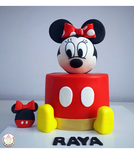 Minnie Mouse Themed Cake - Head - 3D Cake Topper - Round - Red