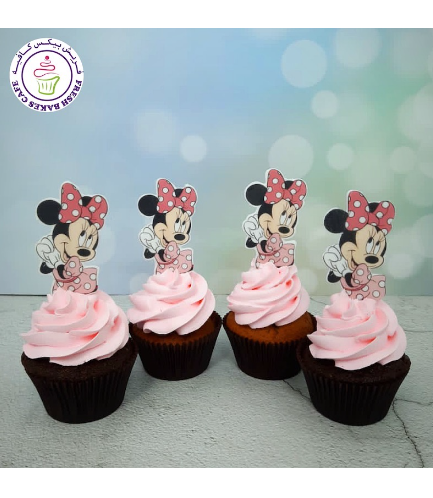 Minnie Mouse Themed Cupcakes - Cream - Printed Pictures