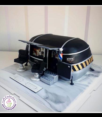 Barber Themed Cake - Mobile Barber Shop 01a