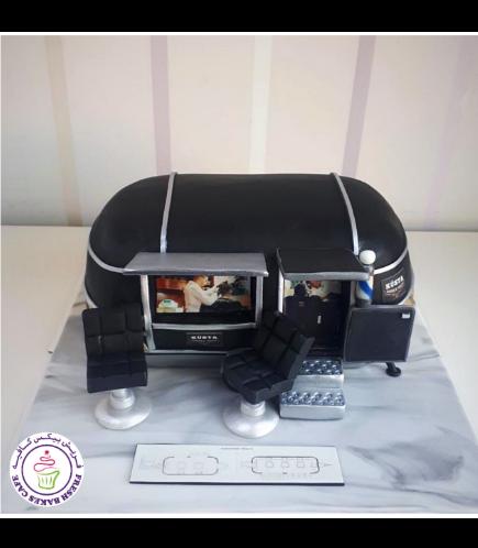 Barber Themed Cake - Mobile Barber Shop 01b