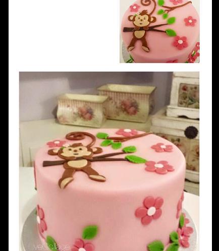 Monkey Themed Cake - 2D Cake Topper - 1 Tier 01