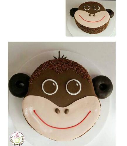 Monkey Themed Cake - Face - 2D Cake - Fondant
