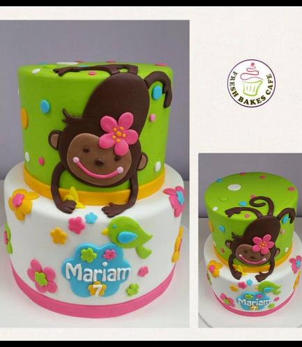 Monkey Themed Cake - 2D Cake Topper - 2 Tier