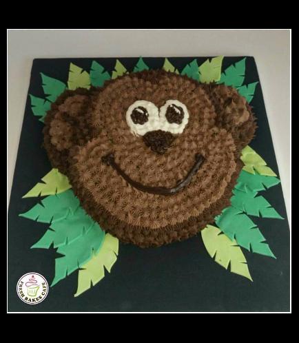 Monkey Themed Cake - Face - 2D Cake - Cream