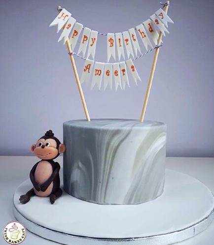 Monkey Themed Cake - 3D Cake Topper 01