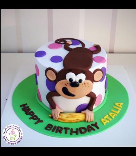 Monkey Themed Cake - 2D Cake Topper - 1 Tier 02