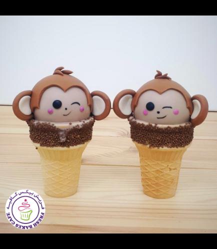 Monkey Themed Cone Cake Pops