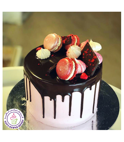 Cake with Chocolate, Macarons, & Meringue