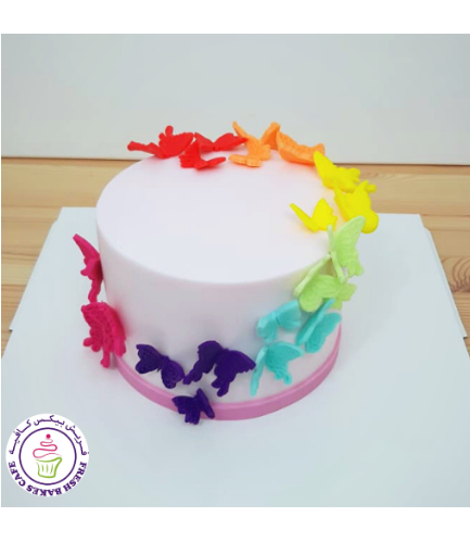 Butterfly Themed Cake - Butterfly Cut Outs - 1 Tier 06