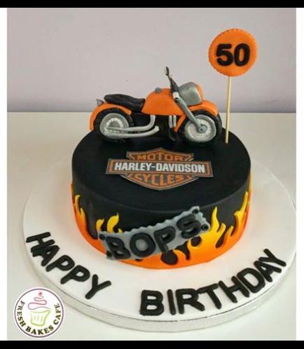 Motorcycle Themed Cake - 3D Cake Topper - Harley Davidson 02