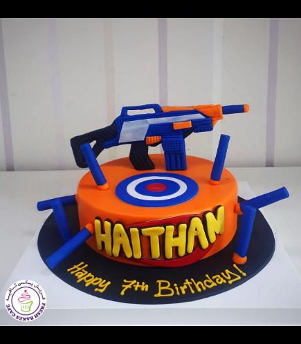 Nerf Gun Themed Cake - 3D Cake Toppers - 1 Tier 02