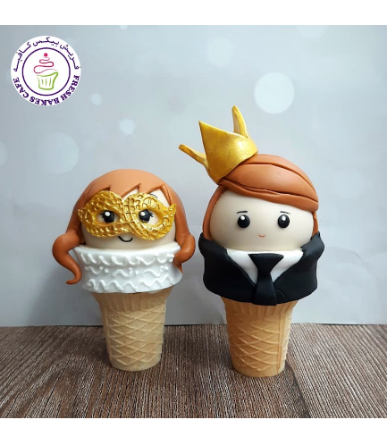 New Year's Eve Themed Cone Cake Pops - Couple 03